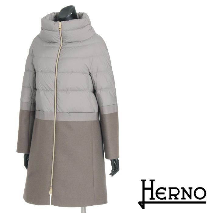 送料無料 HERNO ヘルノ ダウンコート ウールコート 上品な異素材コンビのバイカラーコート 軽量ダウンジャケット 無地 防寒 PI680D [4146]【4800円以上送料無料】