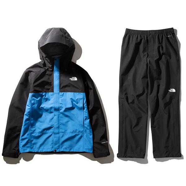 ザ・ノースフェイス FL ドリズルジャケット&パンツ(メンズ)クリアレイクブルー×ブラック THE NORTH FACE FL Drizzle Jacket & pants NP12014-CK-NP12015-K