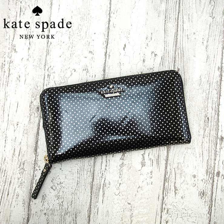 Kate Spade ケイトスペード ラウンドファスナー 長財布 ドット柄 ブラック×ゴールド PWRU4556 Lilac Street Dot Lacey ケイトスペード 長財布