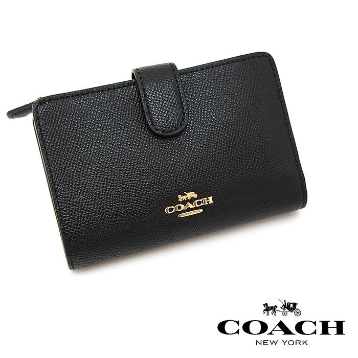 COACH コーチ 二つ折り財布 BLACK 27968 ミディアム コーナー ジップ ウォレット ミニ財布 コーチ 財布 レディース