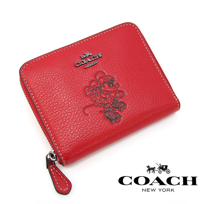 COACH×DISNEY コーチ×ディズニー ミニーマウス ラウンドファスナー二つ折り財布 RED 37538B ミニ財布 コーチ 財布