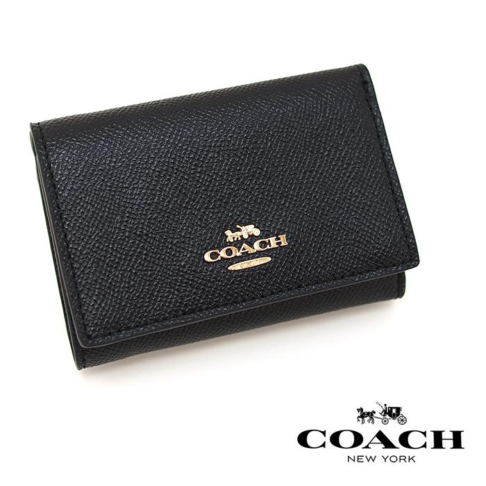COACH コーチ 三つ折り財布 BLACK 39737 スモール フラップ ウォレット ミニ財布 コーチ 財布 レディース