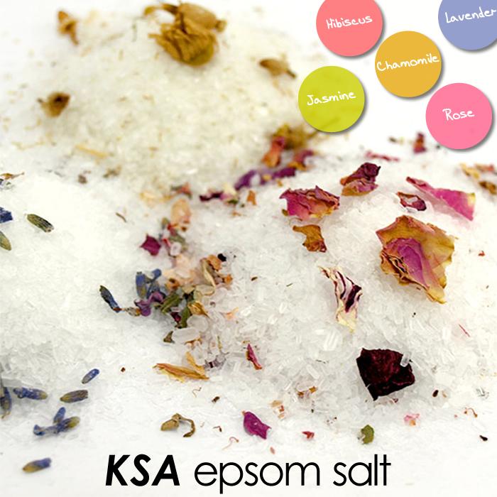 送料無料 美容に取り入れたいエプソムソルト KSA 安い Epsom Salt ハーブ入り エプソムソルト カモミール 各300g ラベンダー ハイビスカス 入浴用化粧品 期間限定の激安セール ローズ ジャスミン