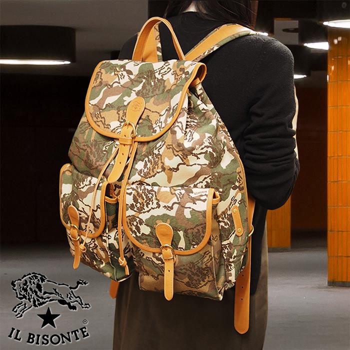 IL BISONTE イルビゾンテ キャンバス×レザー リュック バックパック L1187 T577/カモフラージュ×ナチュラル イルビゾンテ バッグ