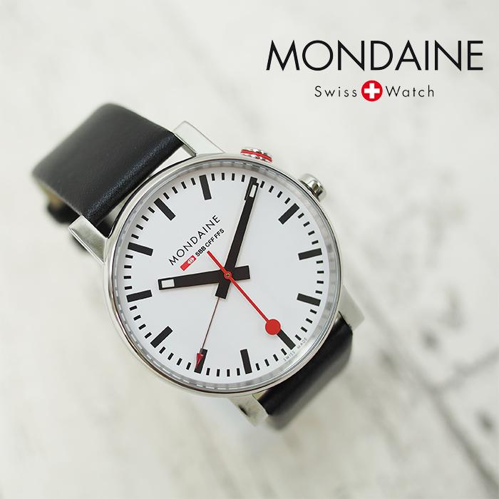 MONDAINE モンディーン Evo Alarm エヴォ アラーム 40mm A468.30352.11SBB ホワイトダイアル ブラックレザー 腕時計 本革レザーベルト