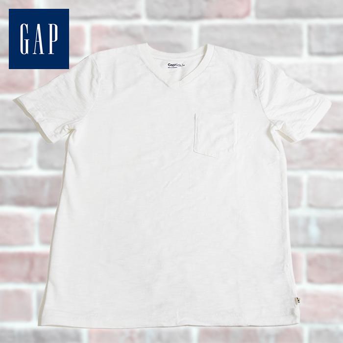 0947416f29599 GAP Kids ギャップ キッズ 半袖 VネックTシャツ ホワイト 130cm 140cm 子供服 子供用 キッズ ジュニア 男の子