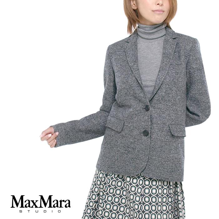 "MAX MARA STUDIO ""SANSA"" 起毛 ウール テーラードジャケット 001:グレー 69160239 001 MaxMara/マックスマーラステューディオ/スタジオ/正規品"