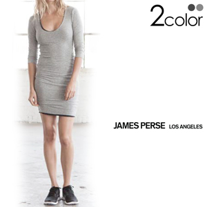"""JAMES PERSE ジェームスパース """"Skinny V Neck Tuck Dress"""" スキニーVネックタックドレス WMV6723 全2色 ヘザーグレー/チャコール"""