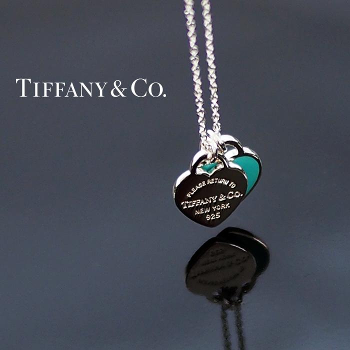 TIFFANY&Co. ティファニー ネックレス ミニ ダブルハートタグ シルバー/ブルー 27125107