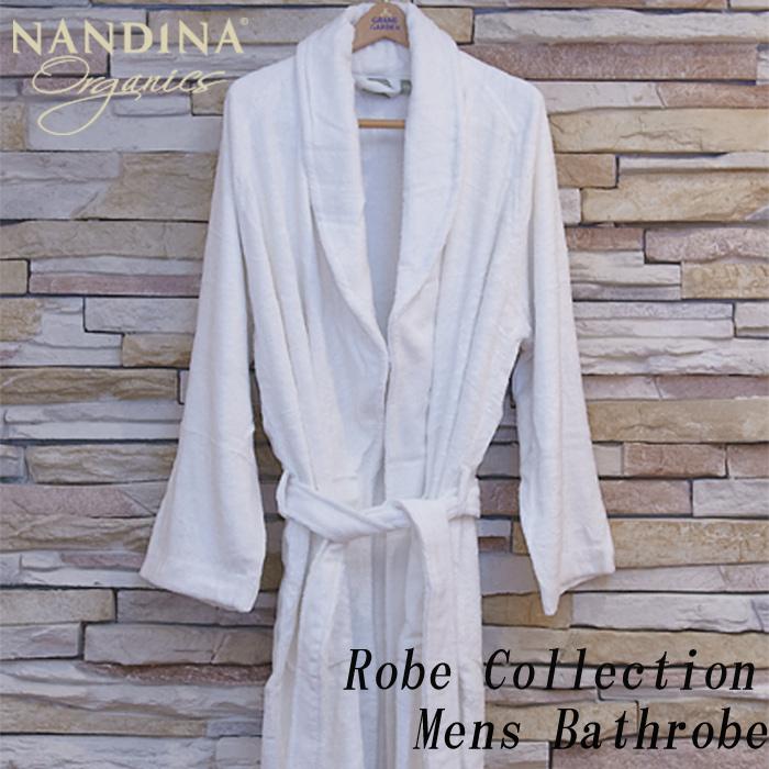 NANDINA ナンディナ オーガニックコットン メンズ バスローブ ガウン ホワイト Bamboo Bathrobe 天然素材 バスローブ メンズ