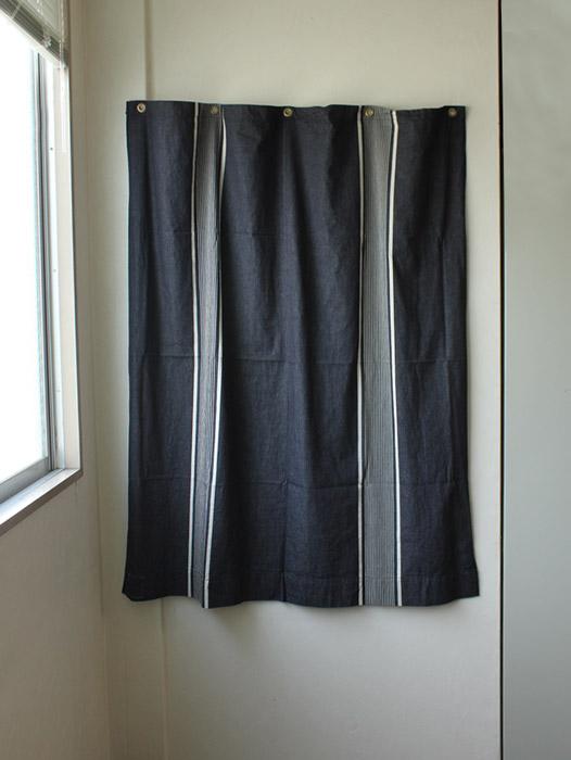THE STRIPES /カーテン (ブラック) 105×135 シンプルな黒のストライプカーテン