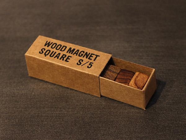 WOOD マグネットスクエア 木の自然な質感がおしゃれなマグネット 小物ディスプレイ