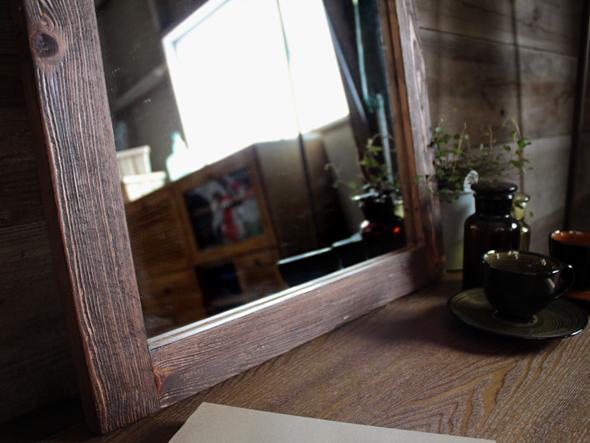 デジートミラー (S)パイン無垢材を使用した柔らかな鏡 テーブルやデスクに立掛けて