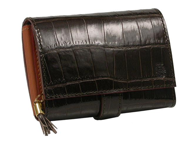 FELISI 3500-SAフェリージ 二つ折り財布 小銭入付き0002ダークブラウンクロコ調型押しカーフSA