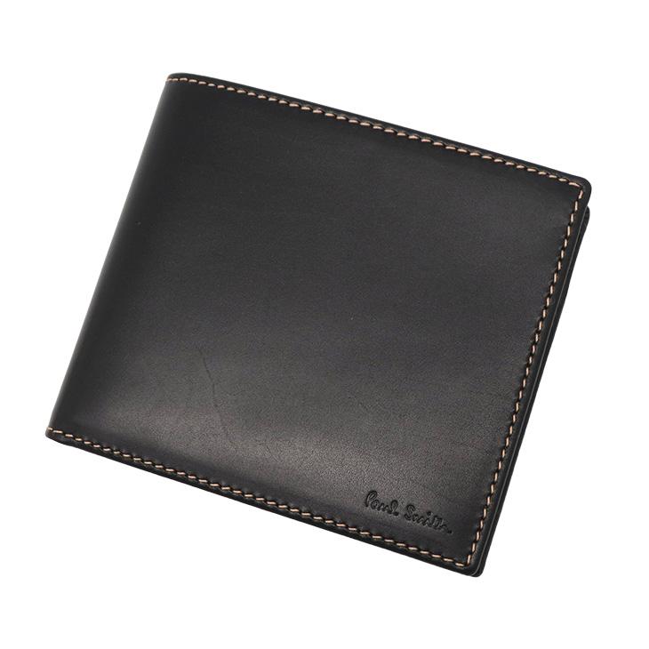 Paul Smith1033-W742-Bポールスミス 二折小銭財布レザーブラック×ナチュラル