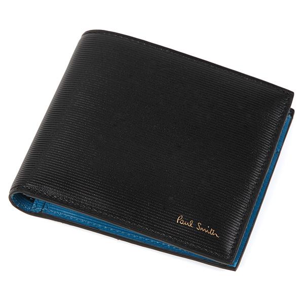 Paul Smith4833-W754-B1ポールスミス 二折小銭財布レザーブラック×ブルー×レッド