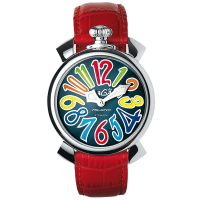 GAGA MILANO 5020.2 MANUALE 40MMガガミラノ マヌアーレ 40ユニセックス クオーツ 腕時計レザー ステンレスレッド×マルチ