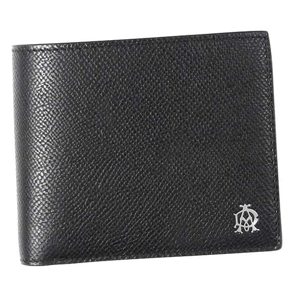 dunhill L2AC32A CADOGANダンヒル カドガン 小銭二折財布型押レザー ブラック×シルバー