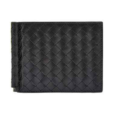 BOTTEGA VENETA 123180-V4651-1000ボッテガヴェネタ マネークリップ付二折財布イントレチャートレザー ブラック
