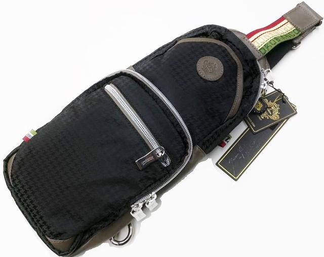 OROBIANCO 7026326 GIACOMIO DA※別注品 オロビアンコ ジャコミオ 3点止ボディバッグリモンタ社製ナイロン×型押レザーブラック千鳥格子×グレーブラック