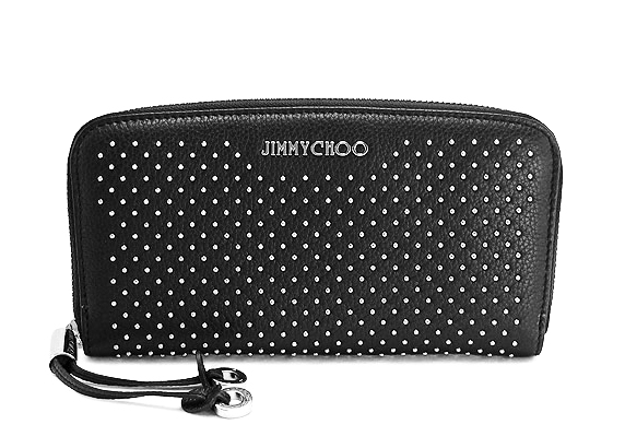Jimmy Choo FILIPA-CST-627-BKジミーチュウラウンドファスナー長財布小銭入れ付ブラック カーフ/スタッズ