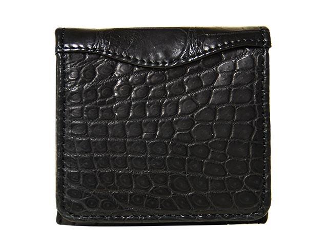 CROCODILE SUC-8889クロコダイル 財布マットクロコダイル革ボックス型小銭入れ財布ブラック