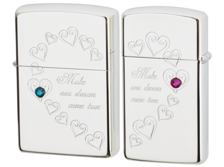 ZIPPO HFPR-ASPジッポ ハートフルペア ペアジッポシルバー×スワロフスキー(ピンク・グリーン)ライター2個セット 専用BOX付
