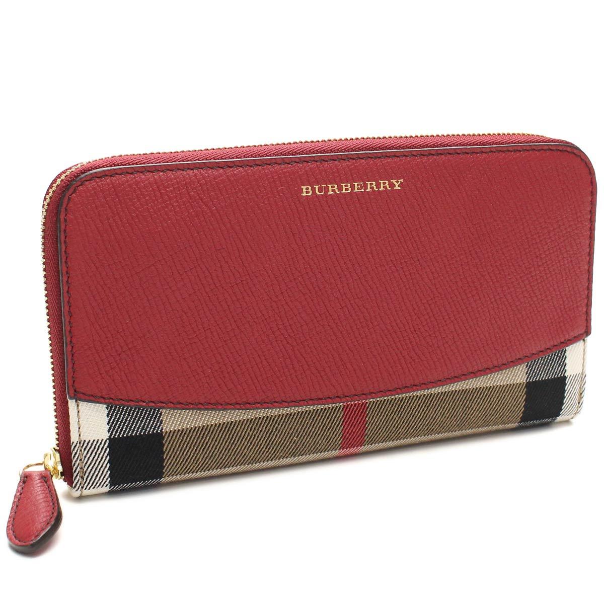 BURBERRY 3975333-RUSSET REDバーバリー ラウンドファスナー長財布キャンバス×レザーレッド系マルチカラー×ゴールド