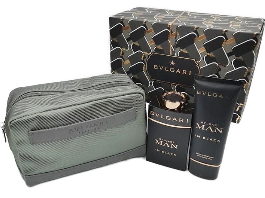 BVLGARI MAN IN BLACK POACH SETブルガリ マンインブラック ポーチセットオード パルファム100ml×1アフターシェーブバーム 100ml×1ロゴ入ファスナー化粧ポーチ×1ナイロン×合皮 モスグリーン