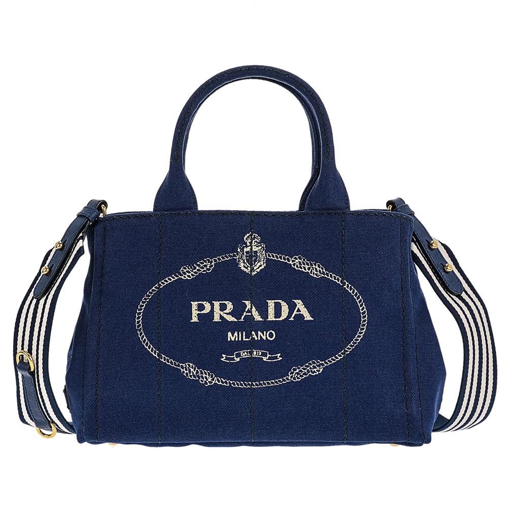 PRADA 1BG439-CANAPA-ROO-BLUETTE-TALCプラダ 2WAYバッグコットンキャンバスブルー×ホワイト×ゴールド
