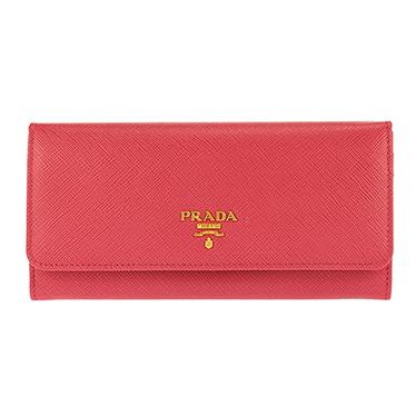 PRADA 1MH132S-ME-PEONIAプラダ スナップ長財布チェーン付パスケース型押レザー ピンク系×ゴールド