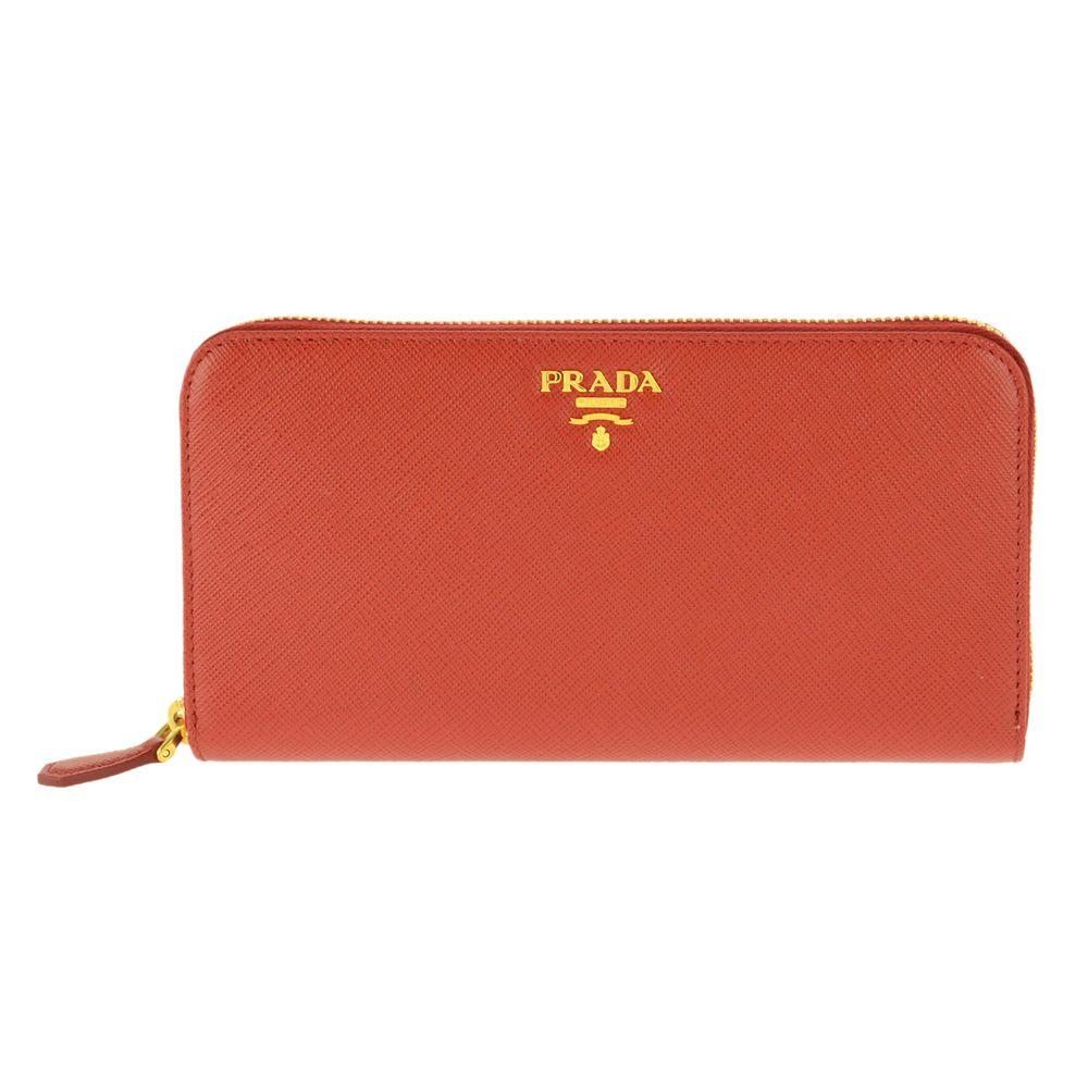 PRADA 1ML506-S/ME/FUOCOプラダ ラウンドファスナー長財布型押レザー レッド系×ゴールド※取寄品