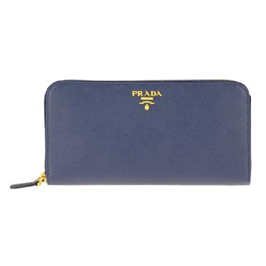 PRADA 1ML506-S/ME/BLUETTEプラダ ラウンドファスナー長財布型押レザー ブリエッタ×ゴールド※取寄品