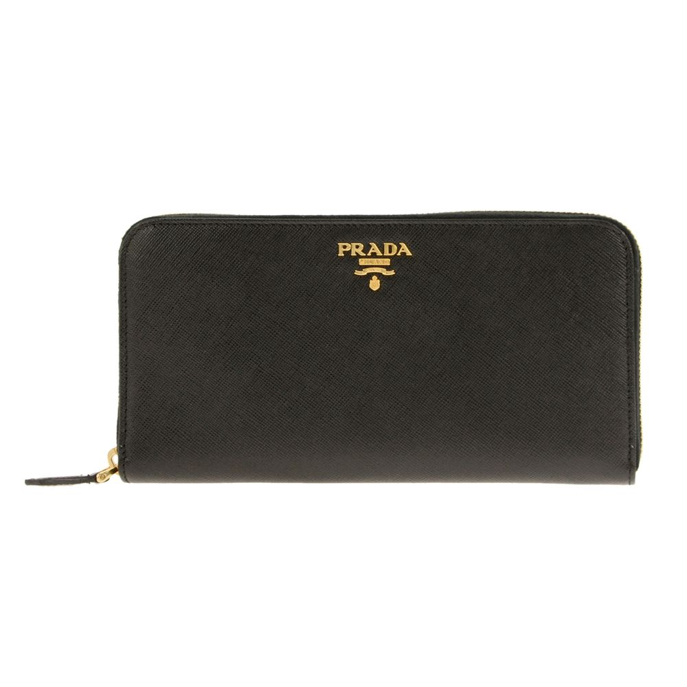 PRADA 1ML506-S/ME/NEROプラダ ラウンドファスナー長財布型押レザー ブラック×ゴールド