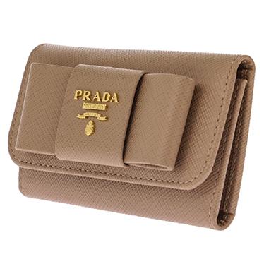 PRADA 1PG222S-FIOCCO-CAMMEOプラダ 6連キーケース型押レザー ベージュ×ゴールド
