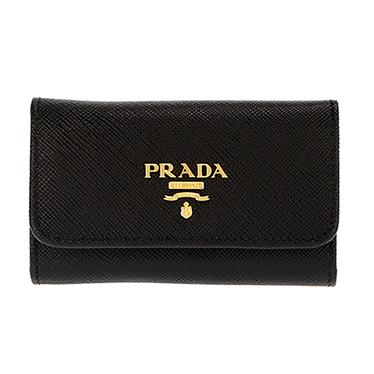 PRADA 1PG222-S/ME/NERプラダ 6連キーケース型押レザーブラック×ゴールド