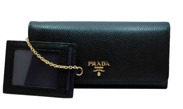 PRADA 1M1132 VITELLO GRAIN NEROプラダ アウトレット 財布チェーンパスケース付 長財布型押 グレインレザーブラック×ゴールド