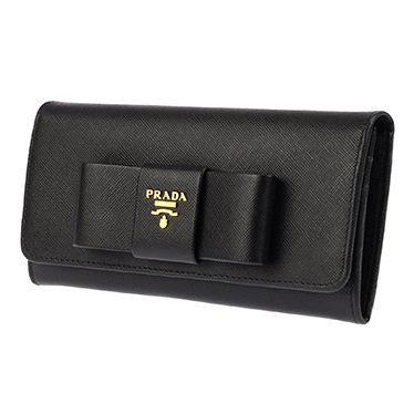 PRADA 1MH132S-FIOCCO-NEROプラダ スナップ長財布チェーン付パスケース型押レザー ブラック×ゴールド