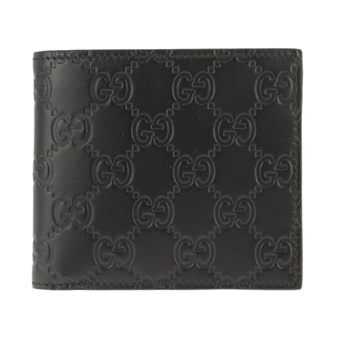 GUCCI 365467-CWC1R-1000グッチ 二折小銭財布グッチシマレザーブラック