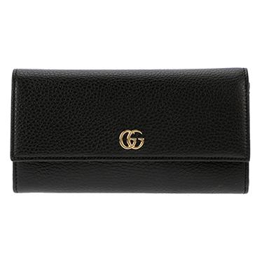 GUCCI 456116-CAO0G-1000グッチ ホック長財布レザー ブラック×ゴールド