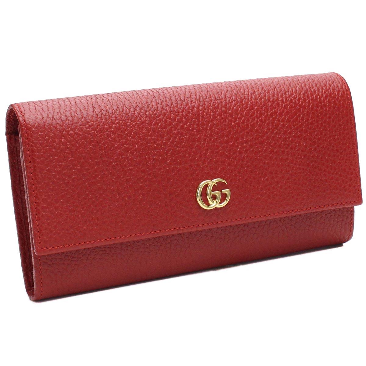 GUCCI 456116-CAO0G-6433グッチ ホック長財布レザー レッド×ゴールド