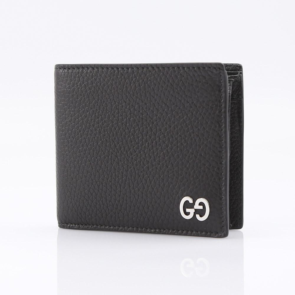 GUCCI 473922-A7M0N-1000グッチ 二折財布レザーブラック×シルバー