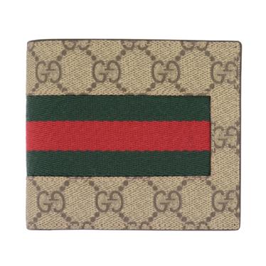 GUCCI 408826-KHN4N-9791 グッチ 二折小銭財布PVC×レザー ベージュ×ダークブラウン