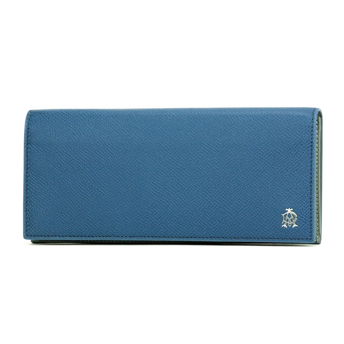 dunhill L2Y210D BOURDONダンヒル ボードン 中ファスナー長財布型押レザー ブルー×グレー