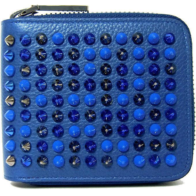 Christian Louboutin1165049-U117クリスチャンルブタンラウンドファスナー財布カーフレザーエスパドン×マルチメタリックブルー×レッド