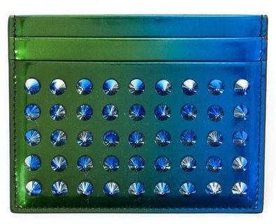 Christian Louboutin3155053-M285OCEAN-AMAZ-GD BLUEクリスチャンルブタンカードケースレザーブルーグリーン グラデーション×レッド