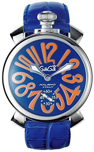 GAGA MILANO 5010.08SMANUALE 48MMガガミラノ マヌアーレ 48ユニセックス 手巻き 腕時計レザー ステンレスブルー×オレンジ