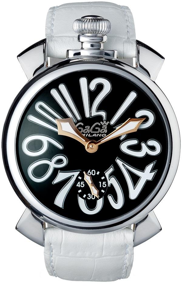 GAGA MILANO 5010.06SMANUALE 48MMガガミラノ マヌアーレ 48ユニセックス 手巻き 腕時計レザー ステンレスホワイト×ブラック