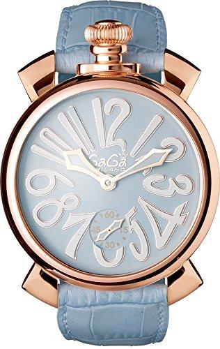 GAGA MILANO 5011.03SMANUALE 48MM 18K PVDガガミラノ マヌアーレ 48ユニセックス 手巻き 腕時計レザー ステンレスライトブルー×ホワイト
