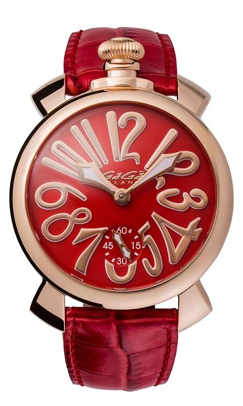 GAGA MILANO 5011.13SMANUALE 48MM 18K PVDガガミラノ マヌアーレ 48ユニセックス 手巻き 腕時計レザー ステンレスレッド×ゴールド